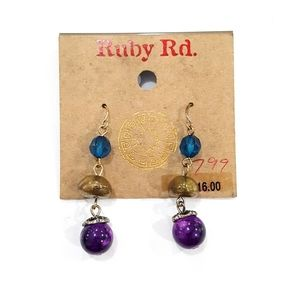 NWT Ruby Rd. Blue Purple Gold Dangle Bead Earrings